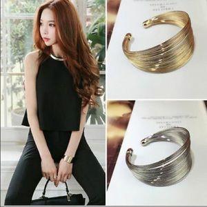❤️gorgeous silver multilayer open cuff bracelet